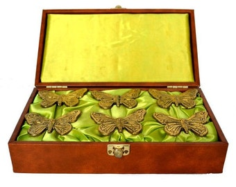 Vintage Set of 6 Brass Butterfly Napkin Rings in Original Brown Vinyl Storage Case