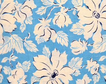 Vintage 1940s Blue Feed Sack Fabric, Floral Flour Sack Material 39 x 36, White Flowers on Sky Blue Background, Cotton Quilt Fabric