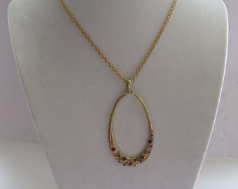 Vintage Cookie Lee Gold Tone Tear Drop Pendant Necklace