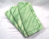 Pretty green pot holders or dish or facial cloths hand knit cotton