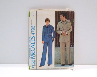 Leisure Suit Jacket Pants Sewing Pattern Vintage mens McCalls 4793 Yoked Shirt Jacket Disco Size Chest 42 1970s High Waist Halloween Cosplay