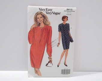 Pullover Dress Vintage Vogue 8412 Loose Pleated Dress Never used FF uncut 1990s Very Easy Size 14 16 18 Long Sleeve Short Sleeve Mid Knee