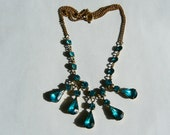 "Vintage Turquoise Blue Rhinestone 5 Drop on 15"" Chain Necklace (J-16-525)"