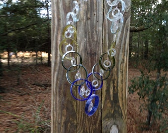 mixed bottle colors, GLASS WINDCHIMES from RECYCLED bottles, glass wind chime, colorful, double helix dna