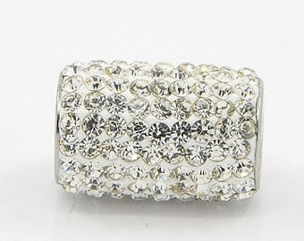 Stainless Steel Rhinestone Magnetic Barrel Clasp 18x12mm; 6mm Hole