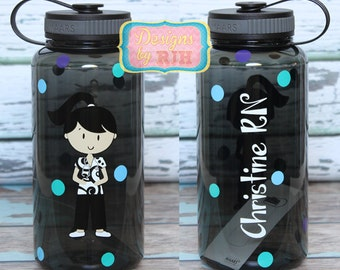 Personalized 34oz Nurse Water Bottle- Travel Cup - Nurse's Week - Choose Your Nurse Style and Colors - Great Gift