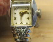 RESERVED 4 Rose Art Deco BULOVA 10K gf, 17 jewels Diamonds Bracelet Bangle Ladies Watch working Shop for Birthdays or Weddings or Christmas