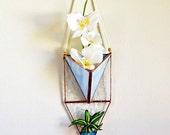 Hängeampel, vertikalen Garten, Wand Pflanze Halter Terrarium, geometrische Pflanzenhalter Glasmalerei, Glasterrarium