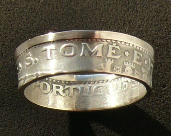 Rare Sao Tome and Principe 5 Escudos Silver Coin Ring, 1951 and Ring Size 9 1/2.