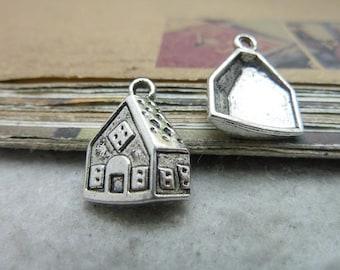 30pcs 13*17mm antique silver  house charms pendant C7590