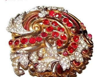 "Art Deco Rhinestone Brooch Red & Ice Clear Stones Gold Metal Flower Swirl Design 2 1/4"" Vintage"