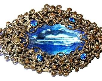 Art Nouveau Brooch Pin Blue Art Glass Rhinestones Stering Silver Filigree 2 in Vintage