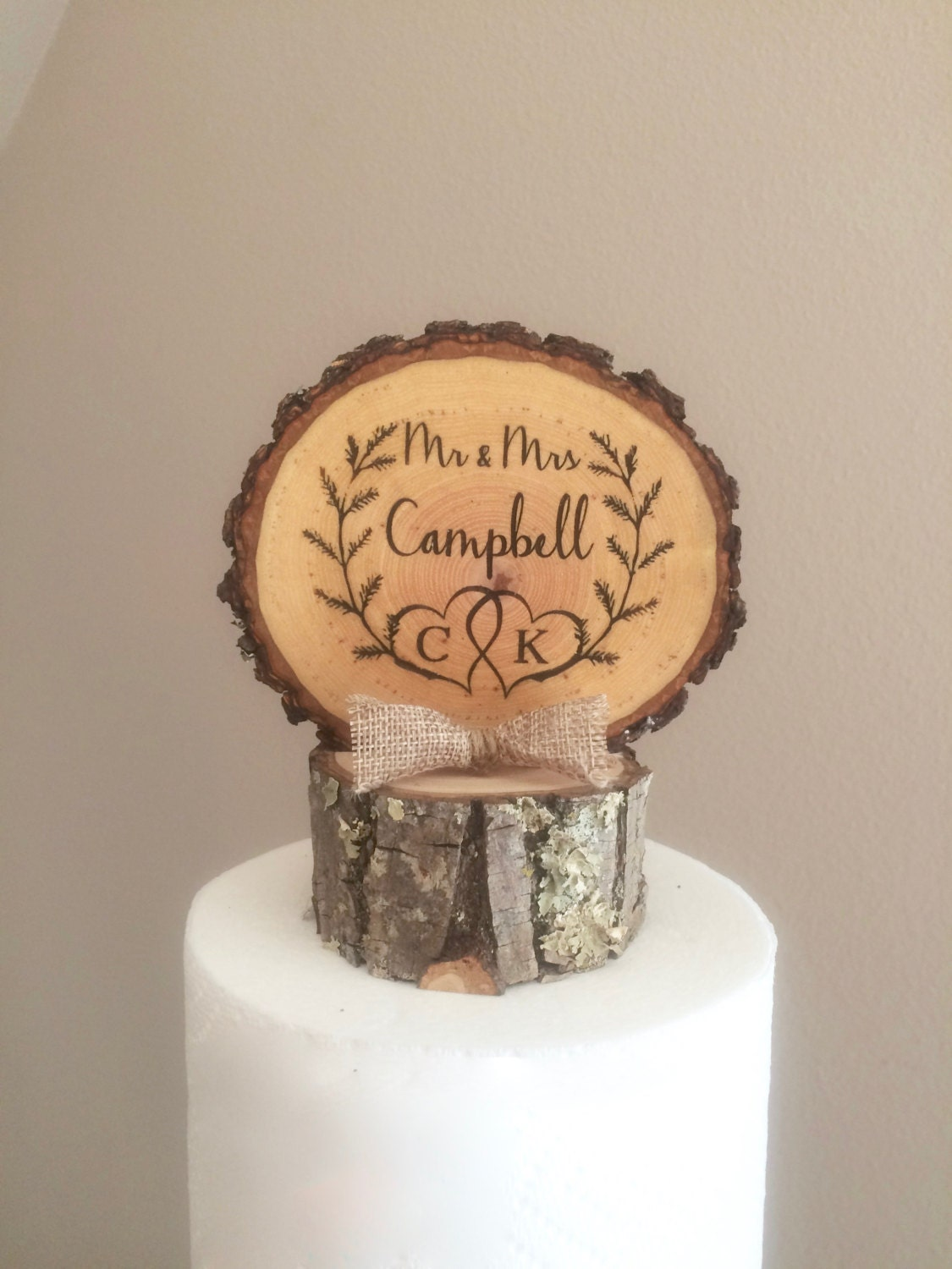wooden rustic country wedding cake topper rustic laurel wedding cake topper wood slice topper mr amp mrs 27594