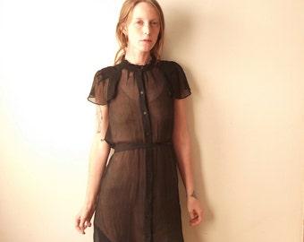 Sheer black Silk Button-Up Cap Sleeved vintage dress