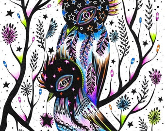 NEON PUNK BIRDS (limited edition print) 2/50