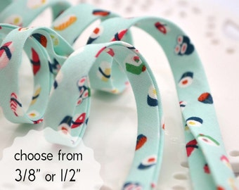 """sushi! - double fold, bias tape - 3 yards, CHOOSE 3/8"""" or 1/2"""" wide"""