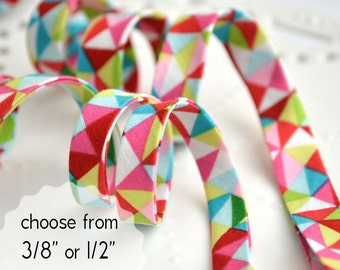 "bright triangles - double fold, bias tape - 3 yards, CHOOSE 3/8"" or 1/2"" wide"