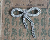 Art Deco feminine Ribbon Bow Rhinestone Brooch Pin / 50S Sparkle / Romantic Wedding Accessories / Tied with a Bow
