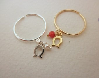 Lucky horseshoe ring with pearl or coral -  tiny horseshoe dangle ring - adjustable ring  - silver - gold  charm ring