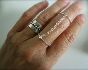 Double chain ring - 925 solid sterling silver - adjustable double ring  - chain double ring - midi ring - silver slave ring
