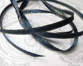 Gold Edged Navy Satin Ribbon 1/8 inch -- 3 yards -- 3mm -- Double Faced