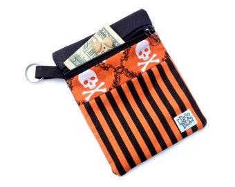 Skulls and Stripes Halloween Clip-on Dog Leash Accessory Pouch - Dog Treat Bag - Dog Poop Bag Holder