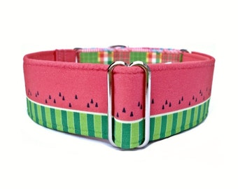 Watermelon Madras Dog Collar - 1 inch or 1.5 inch Pink and Green Summer Watermelon and Plaid Martingale Collar or Buckle Dog Collar