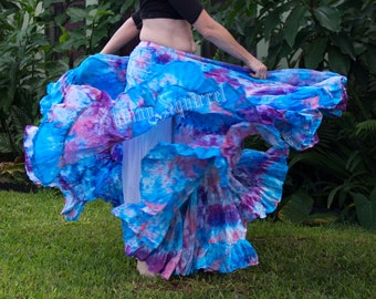 Belly dance gypsy skirt-The Iris hand dyed skirt-SCA,ATS,tribal belly dance, fusion, bohemian,