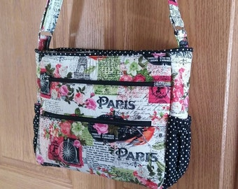 Joanna Cross body Bag in Pink French print, Black and White Accents