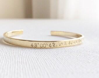 Custom Coordinates Bracelet, Compass Coordinates Cuff Bracelet, Personalized Location Bracelet, Quotes Bracelet, Inspirational Cuff Bracelet