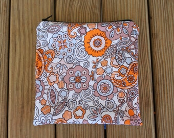 Reusable Sandwich Bag, Orange Flowers - ZIPPER Sandwich Bag