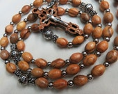 Laser Etched Olive Wood Orthodox Byzantine Crucifix Wooden Small Rosary set on Olive Wood Beads and a Miraculous Medal Centerpiece