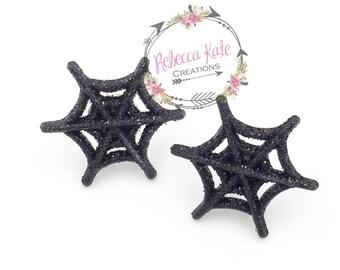 Sparkly Spider Web Post Earrings/Halloween Earrings