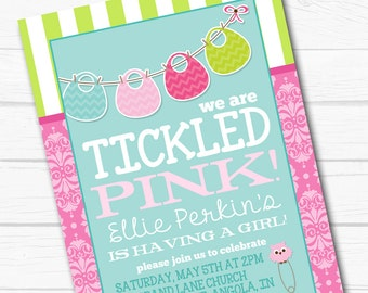 "Personalized ""Tickled Pink"" Onesie Bib Girls Baby Shower Party Digital Printable 4x6"" or 5x7"" Invitation"