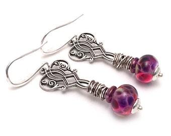 Juicy Art Deco Earrings - Wire Wrapped Earrings - Silver Earrings - Artisan Handcrafted Jewelry - Pink and Purple Earrings - SRAJD 3955