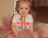 Birthday shirt or onesie with number, name and tutu