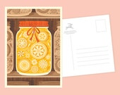 Crafty Yellow Mason Jar Postcard or Postcard Set - Inspired by Lithuania Series