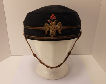 Antique Deluxe 32nd Degree Masonic Scottish Rite Cap by famous B. Pasquale & Co. San Francisco - Size 7 1/4, made from 1945-1955