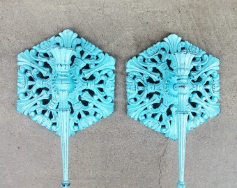 Shabby Chic Aqua and Black Syroco Wall Sconce Candle Holder Set