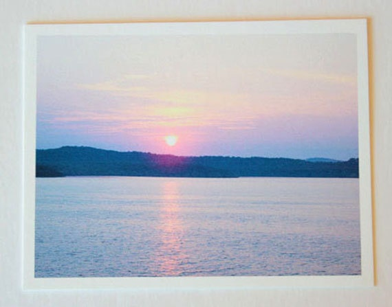 Sunset over Branson Missouri, purple, note card, blank greeting card, sunset photo, fine art, single card, photo greeting card, purple, blue