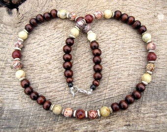 Mens surfer necklace, jasper, lace agate, wood and shell beads, tribal style, handmade from earthy natural materials, one of a kind