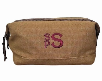 Set of 2 Toiletry Bags Personalized Dopp Kit Double Compartment Groomsmen Gift
