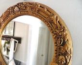 Vintage Gold Mirror Oval Large Ornate
