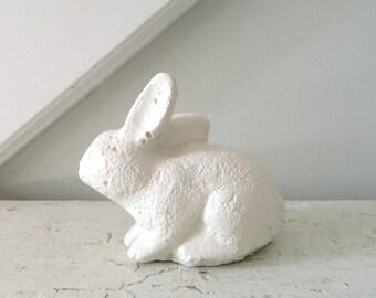 Vintage Concrete Rabbit Bunny White