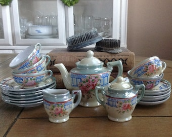 21 Piece Childern's Lusterware Tea Set Made in Japan in the 1940s
