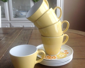 3 Corning Ware Centura Summerhill Cups and 2 Saucers for Lovely Cheerful Coffee or Tea Every Day