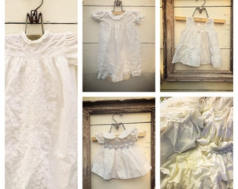 vintage baby gowns, vintage off white gown, baby gown and dress, baptismal gown, Christening gown (4 items)
