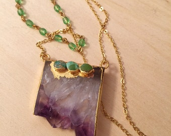 Amethyst Pendant with Three Turquoise Stones on Gold Plated Chain and Green Rosary