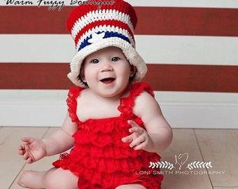 SUMMER SALE Uncle Sam Stars & Stripes Top Hat - Crochet Newborn Baby Adult Beanie Boy Girl Costume Winter  Photo Prop Cap Child Toddler Outf