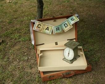 Vintage Tan Leather Briefcase, Suitcase, Brown, Cream, Wedding Card Box, Wedding Decor, Home Decor, Map